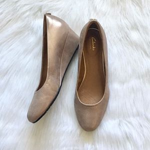 Clarks Dusty Gold Metallic Slip On Wedge Heels 10
